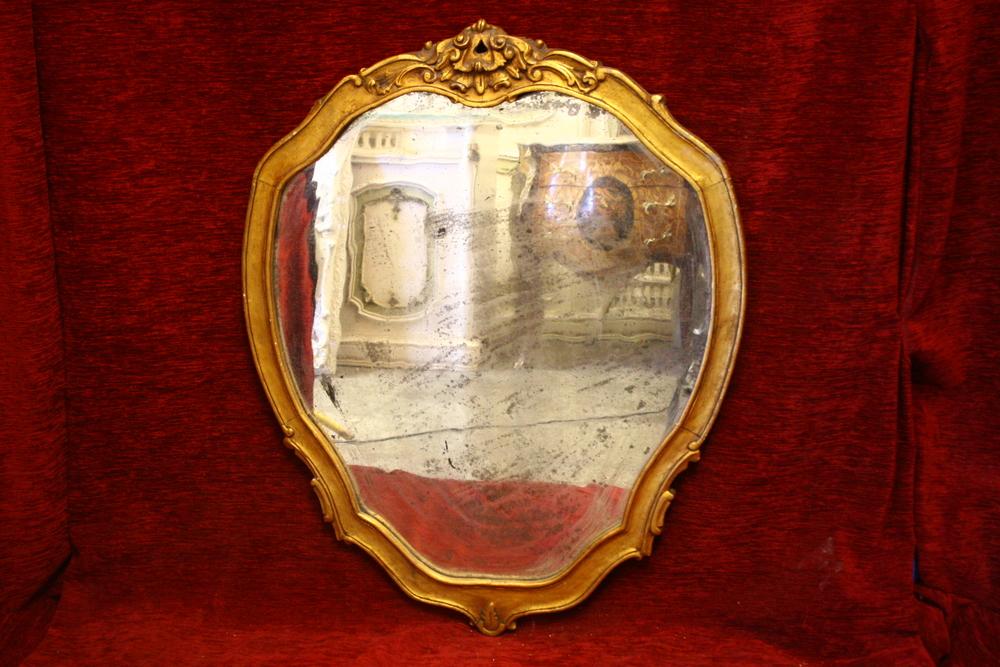 Renaissance Antiques Dublin Ireland  OLD SHEILD SHAPED MIRROR