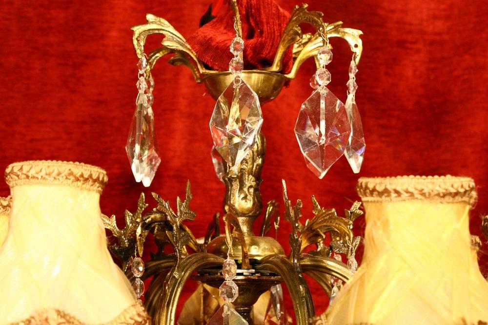 Renaissance Antique Dublin Ireland 7 ARM BRASS AND GLASS CHANDELIER