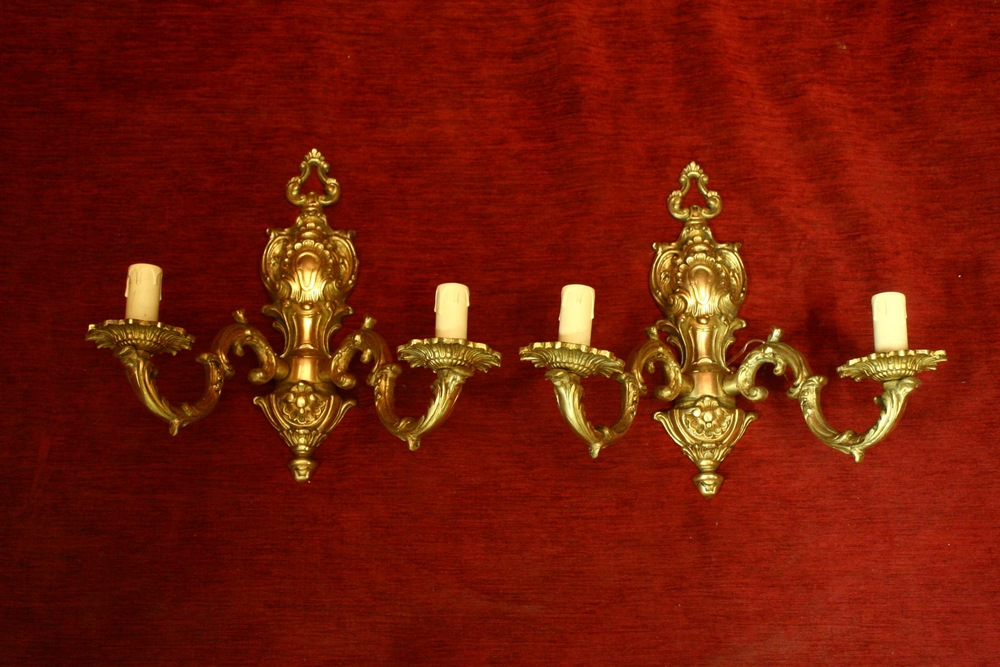 Renaissance Antique Dublin Ireland brass double wall lights