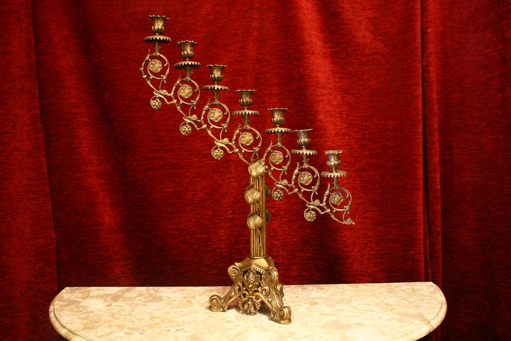 Renaissance Antique Dublin Ireland seven piece brass candelabra