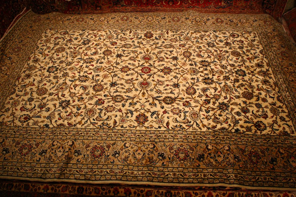 Renaissance Antique Dublin Ireland Hand knotted blue and gold persian carpet