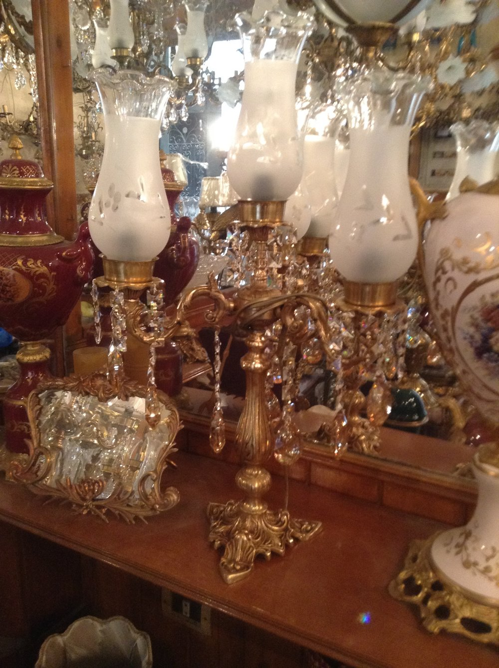 Solid Brass Table Lamps With Glass Shades Renaissance