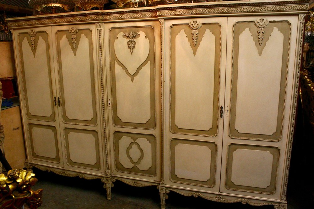 Renaissance Antiques Dublin Ireland Old painted white/cream carved wood french bed