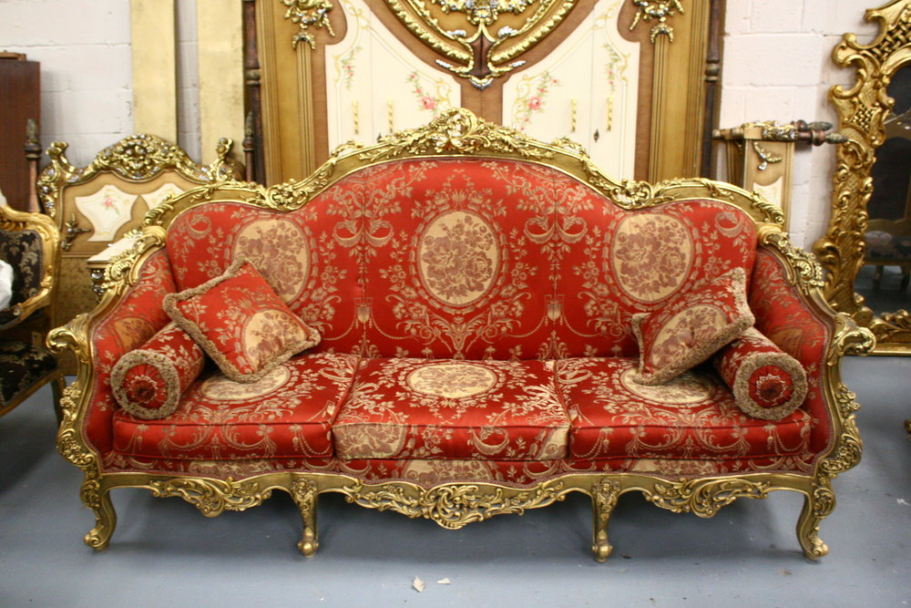 Gilt sofa salon chairs french Renaissance Antique Warehouse Dublin ireland