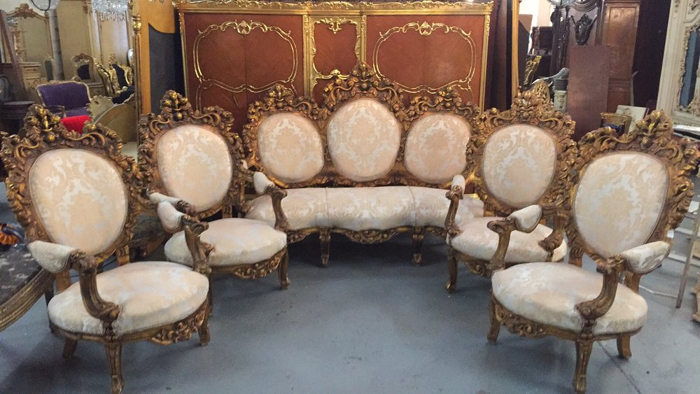 Renaissance Antique Furniture and Lighting Warehouse Dublin Ireland antiques salon suite sofa