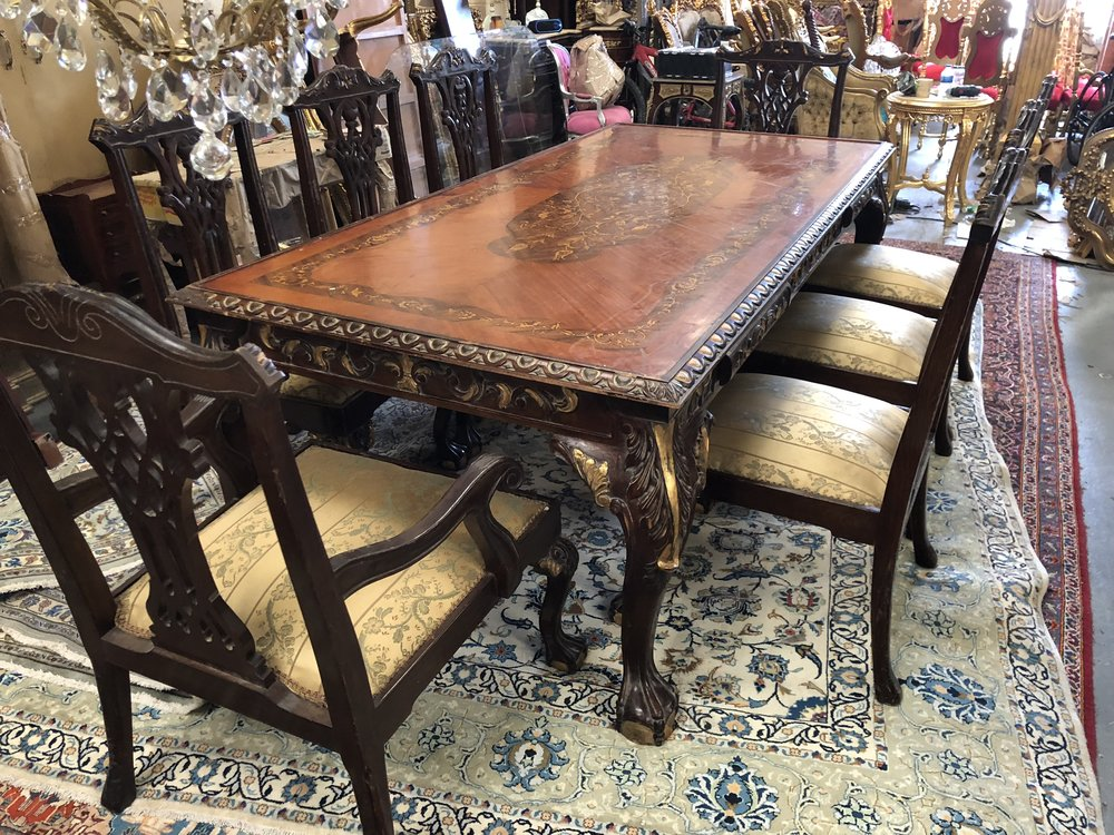 Dining table and chairs Renaissance Antique Furniture and Lighting Warehouse Dublin Ireland