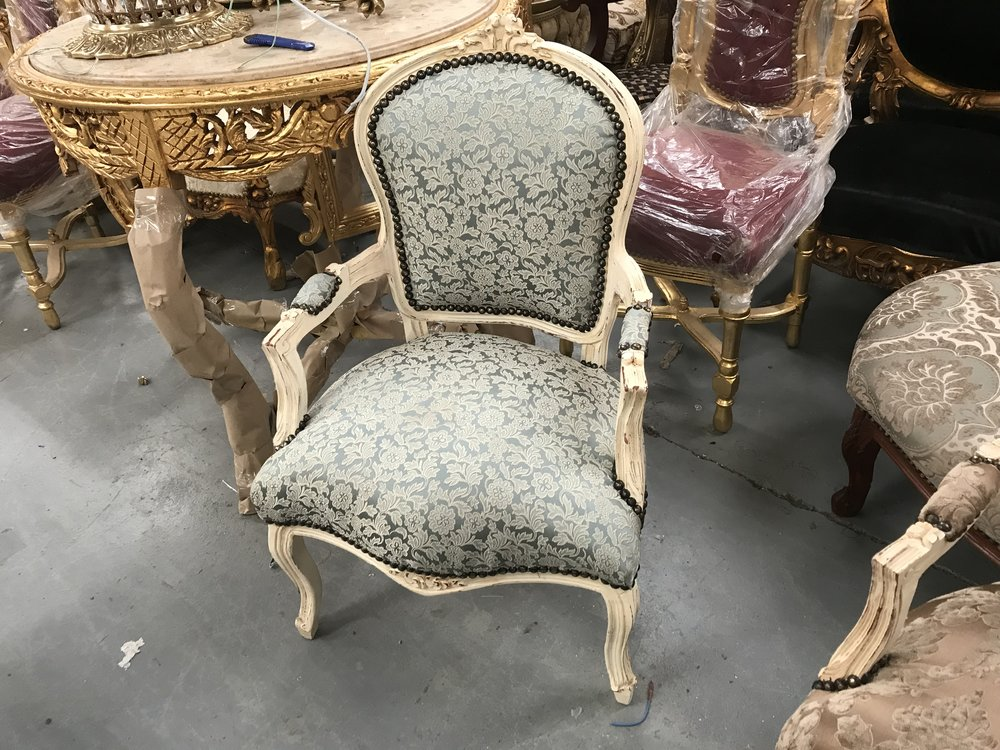 Renaissance Antique Shabby chic cream and blue chair Furniture and Lighting Warehouse Dublin Ireland