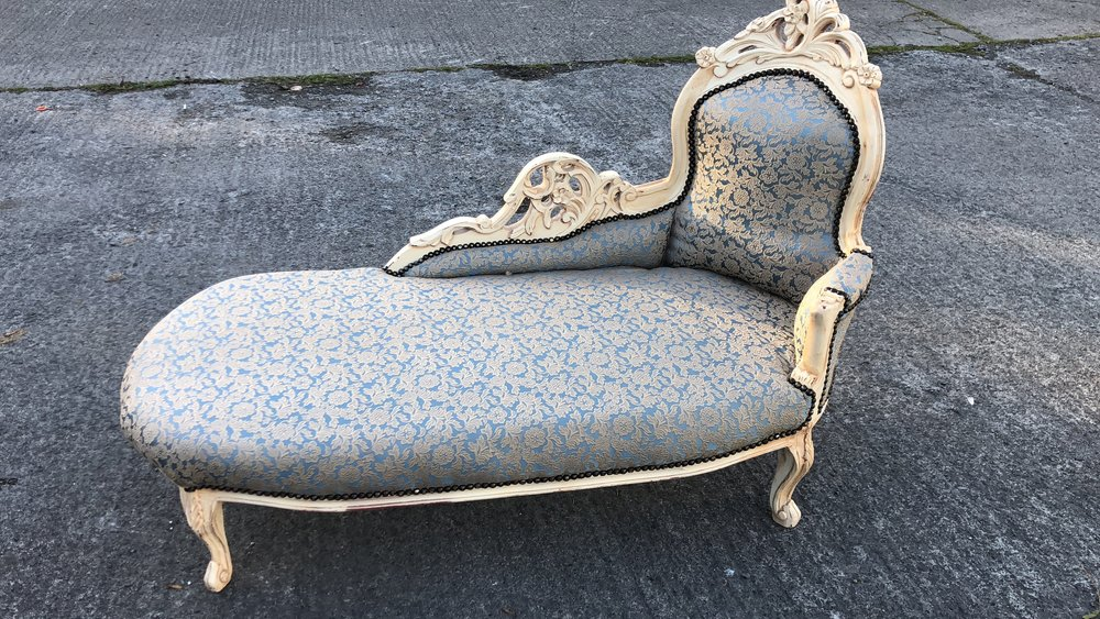 Blue shabby chic chaise Renaissance Antique Furniture and Lighting Warehouse Dublin Ireland