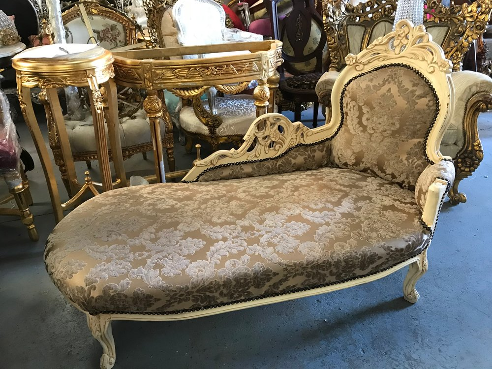 Shabby chic chaise longue Renaissance Antique Furniture and Lighting Warehouse Dublin Ireland