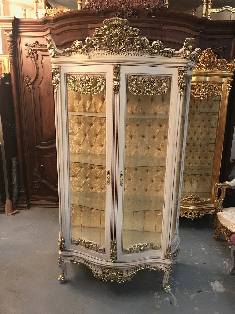 vitrine gilt glass cabinet Renaissance Antique Furniture and Lighting Warehouse Dublin Ireland