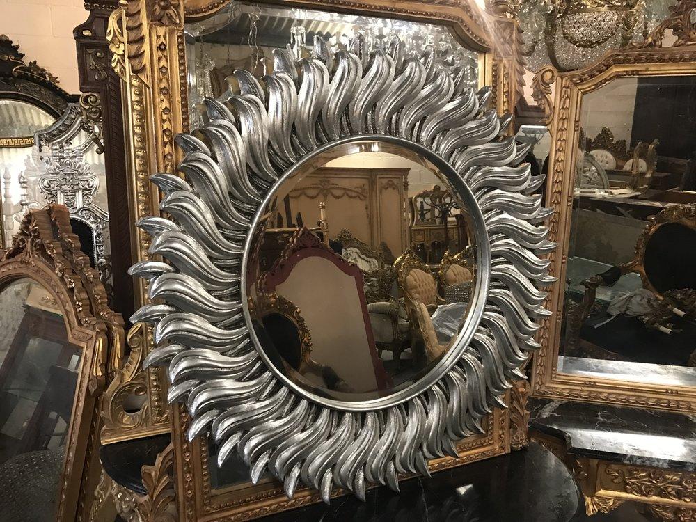 Silver wood framed mirror Renaissance Antique Furniture and Lighting Warehouse Dublin Ireland