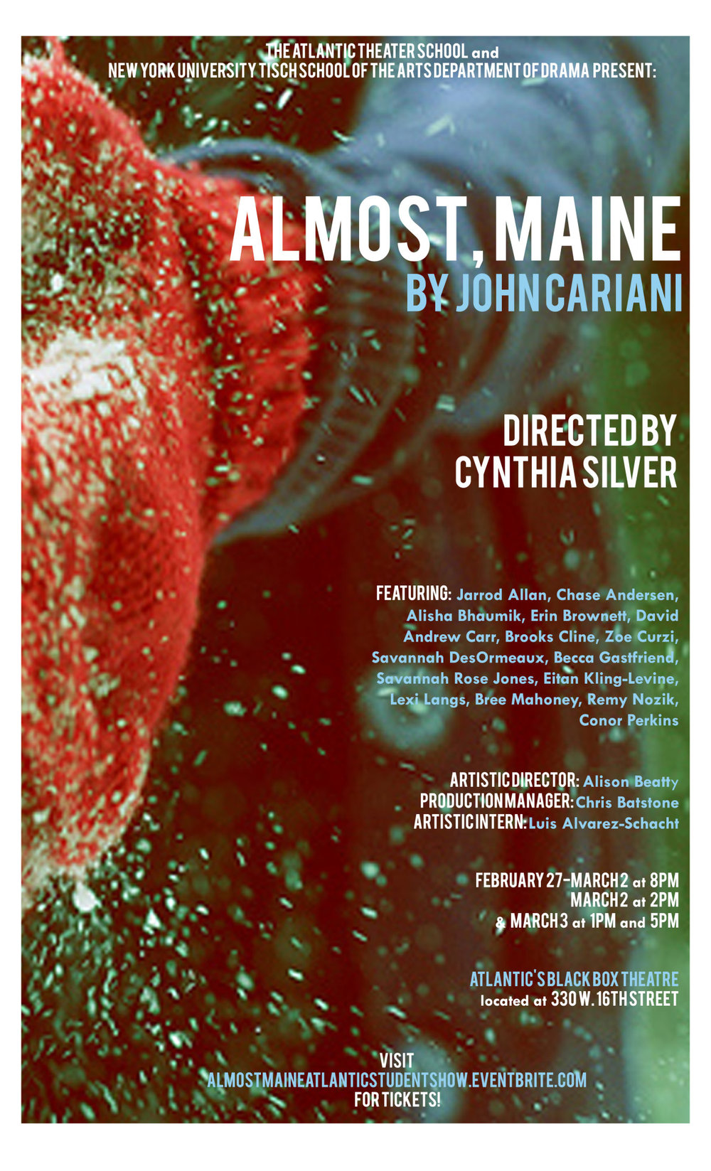"""Almost, Maine"" at Atlantic Acting School and NYU Tisch School of the Arts poster"