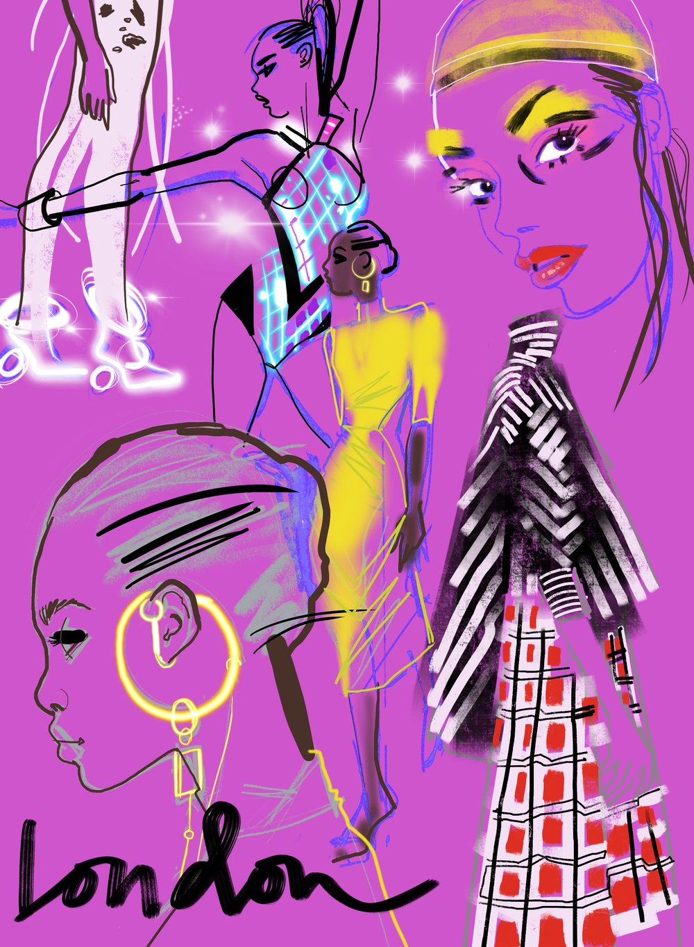 London Fashion Week  iPad Pro illustration for  IF Magazine   Spring 2019 Womenswear collections