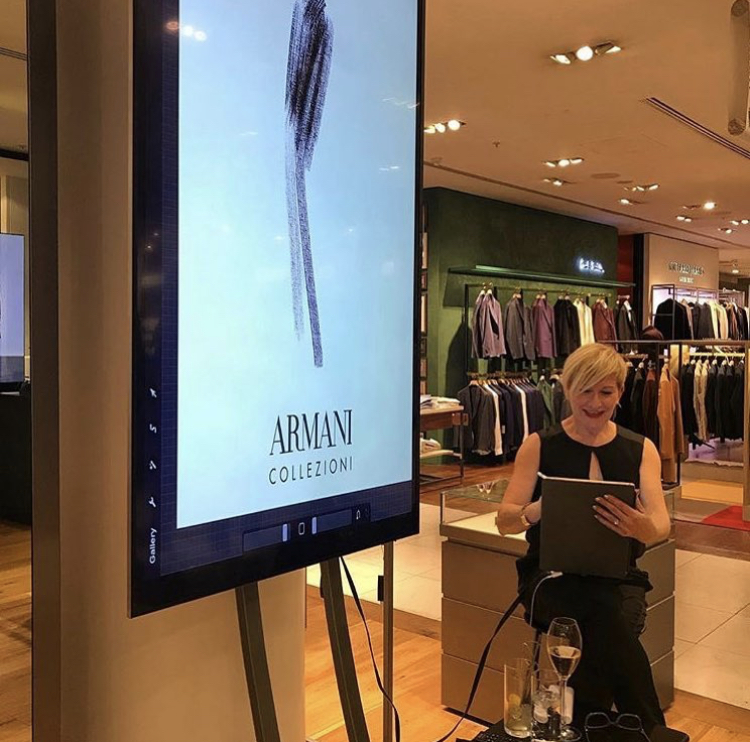 Armani Collezioni  live event in Selfridges 2018  iPad Pro using Procreate app, linked to a 2 metre high monitor