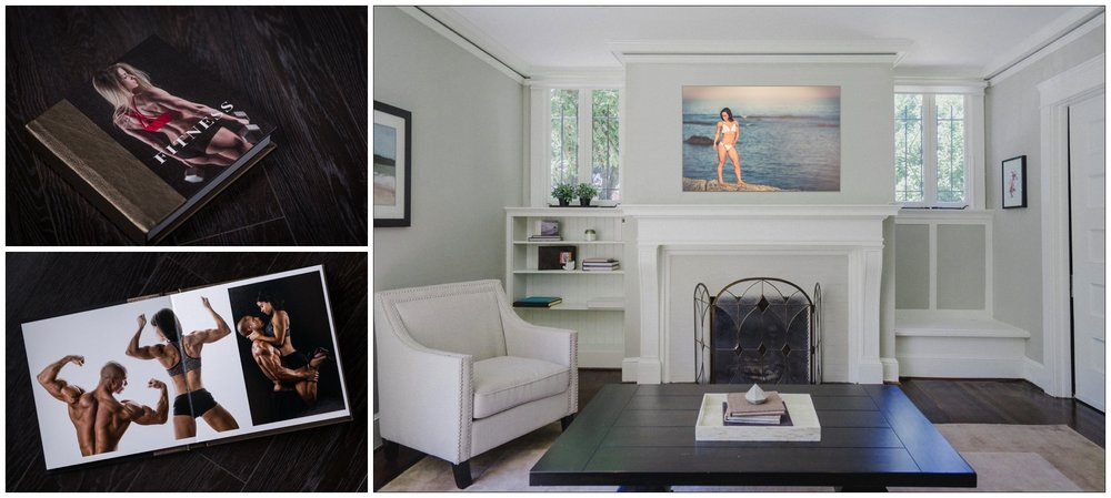 Albums are the ultimate way to preserve and enjoy your photos, and include a variety of your poses, outfits, and backdrops. Then, visualize your artwork in your home or gym with our custom design software to create the perfect installation.