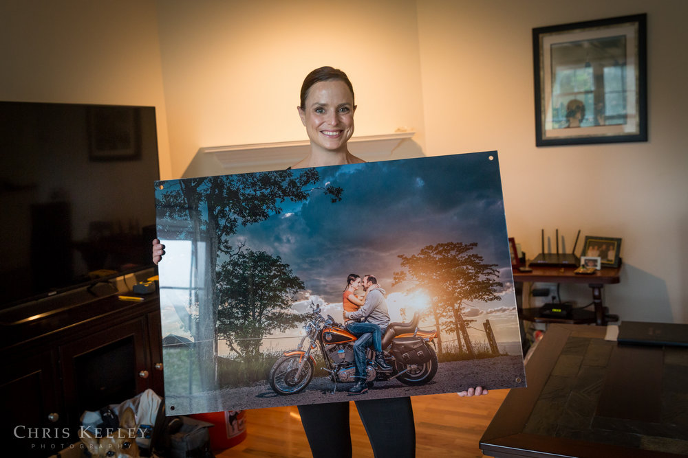 Heather with her acrylic metal print before installation. This piece looks absolutely stunning on their wall!