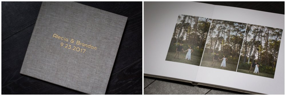 The Guest Signature Book is a great way to preserve your collection of engagement pictures while serving as a functional accent to your wedding, whereby extra space around your pictures gives room for your guests to sign in.