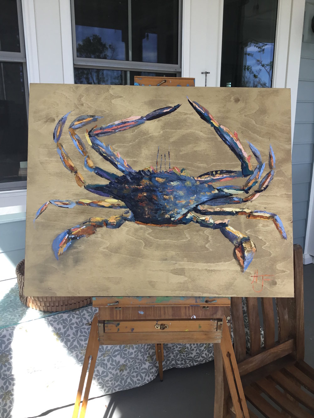 """Crab on Gold""original oil on Birchwood canvas panel, 1.5"" deep x 24""W x 30""H  SOLD"
