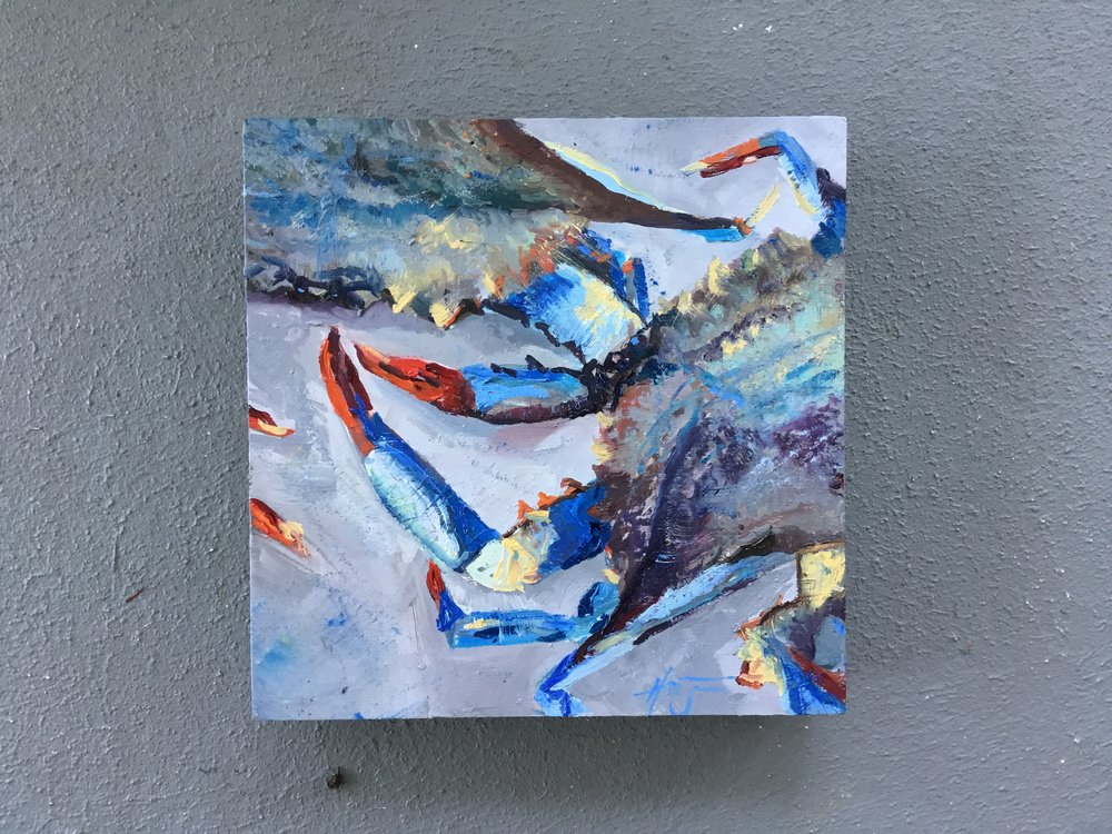 """""""Crabby MOMent"""" small study 8 x 8  $125"""