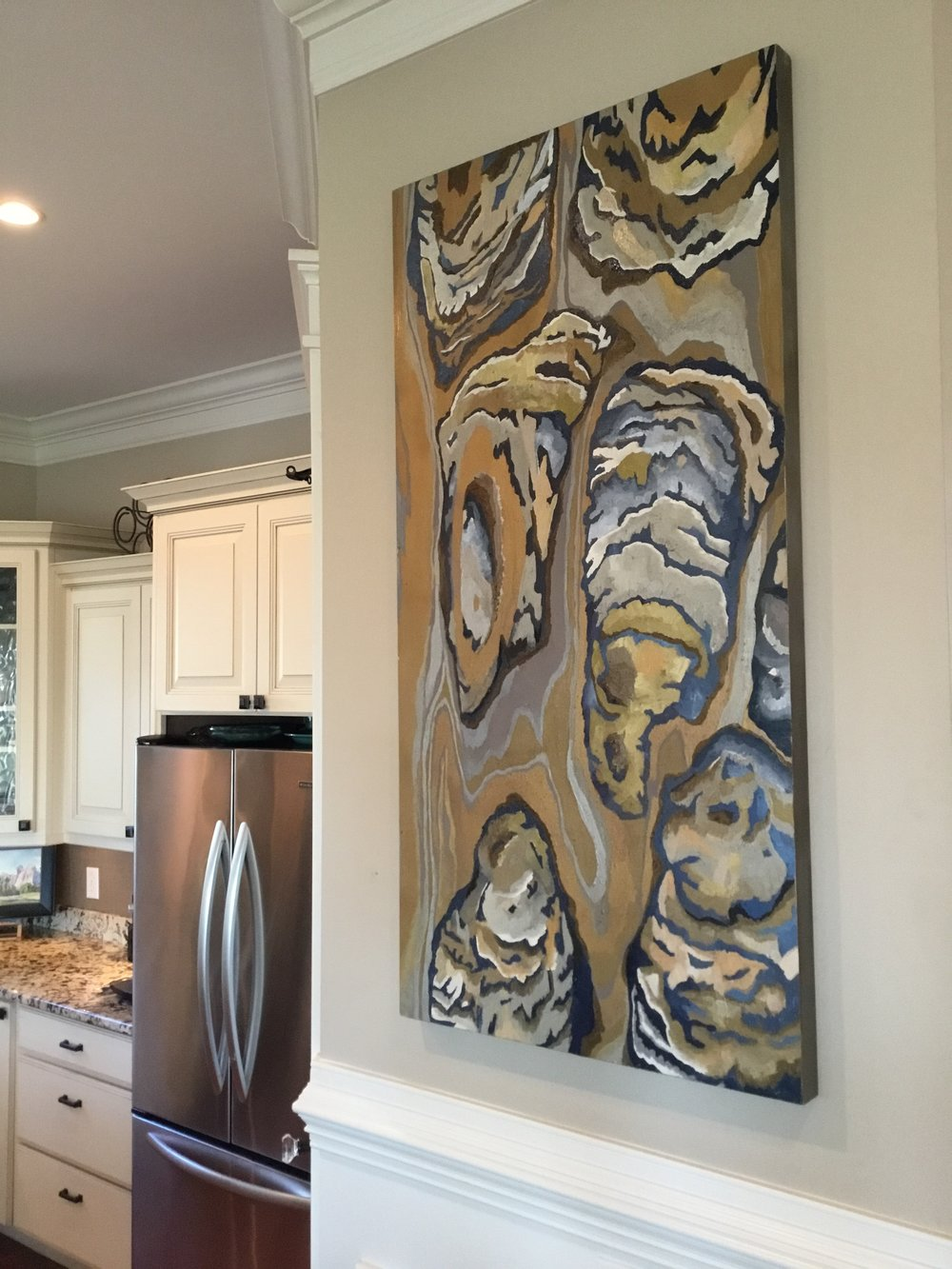 Oysters on Birchwood Canvas  24 x 48  $1600