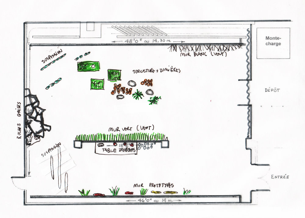 Plan préparatoire pour l'exposition à la Maison de la culture   Ahuntsic à l'automne 2017