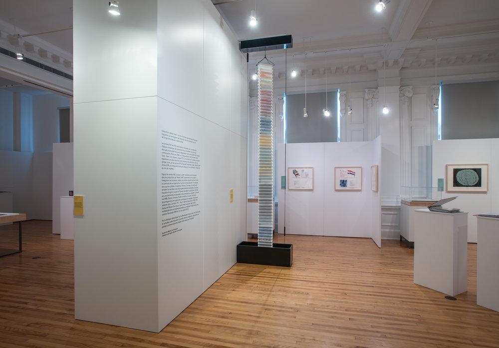 De gauche à droite :  Conversations sédimentaires  (Jocelyne Thibault, 2016),  Graff Dinner  (collectif, 1978),  Corridart 1976  (collectif, 1982), Palimpseste en permutation(...) (Pascaline Knight, 2016). Crédit photo : BAnQ