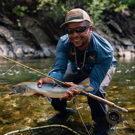 Head guide Rankin is visiting from @flyfishguanaja and we had some friends from @howlerbros roll into town Naturally we had to have an unusual and exciting and very hazardous experience - serious adventure resulted in Rankin catching his first bull trout. @howlerprivateer #flyfishing #adventure #ferniestoke #howlerbros