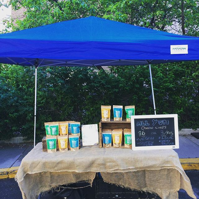 Suns out ☀️ come grab some All Yum Onion Chips this morning at @sickkidstoronto farmers market until 2pm