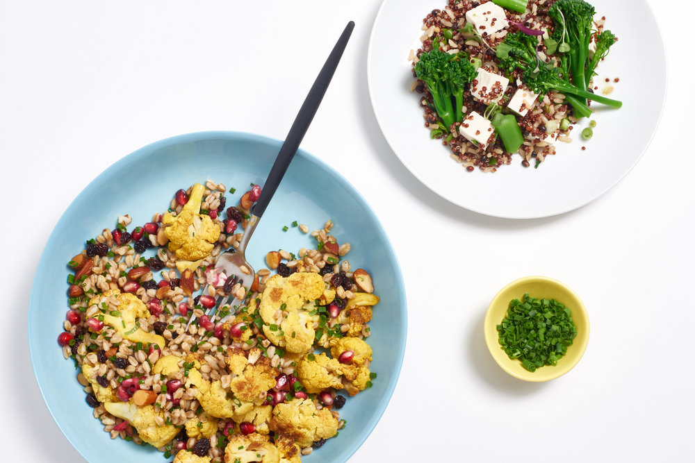 Curried cauliflower farro + broccolini tofu red quinoa
