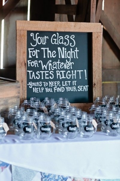 Dual Usage: Seating chart idea and gift glass w/ name for the ...