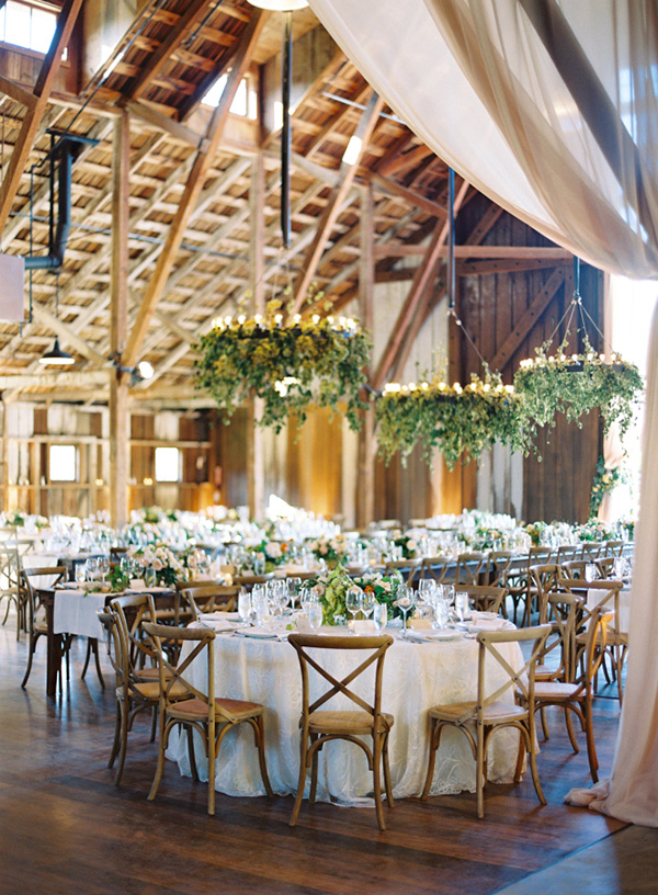 rustic-barn-wedding-reception-ideas-with-floral-chandelier