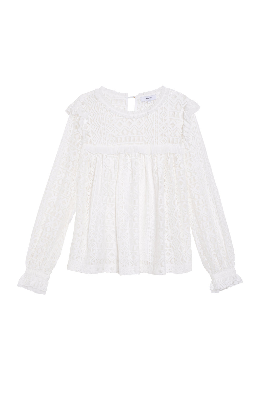 LOUP Blouse $210 - The Loup Blouse is the perfect mix of elegant and romantic. Featuring ruffles at the shoulders and long puff sleeves, this lace top can take you from Thanksgiving at grandma's house to drinks with friends. Pair it with your favorite denim or velvet and heels to elevate the look.