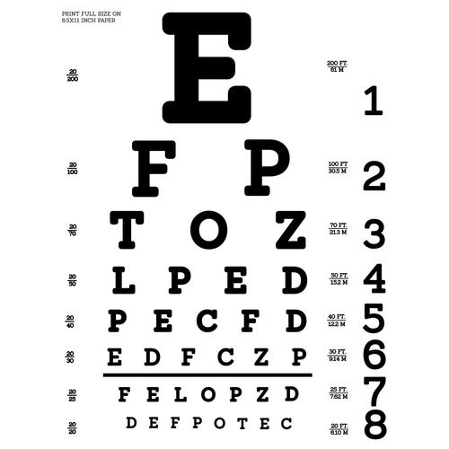 Eye doctor test chart t shirt tiny north