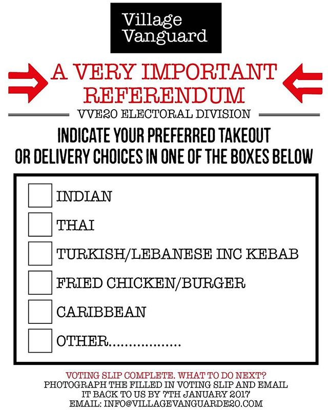 VV takeout & delivery menu voting slip for you to complete, return and pass on...