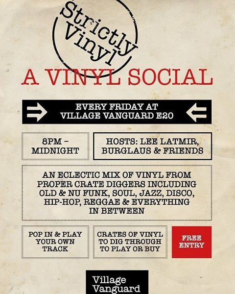 Strictly Vinyl: a vinyl social. Every Friday at #villagevanguarde20. 8pm-midnight. Free entry. Pop in and play your own track.