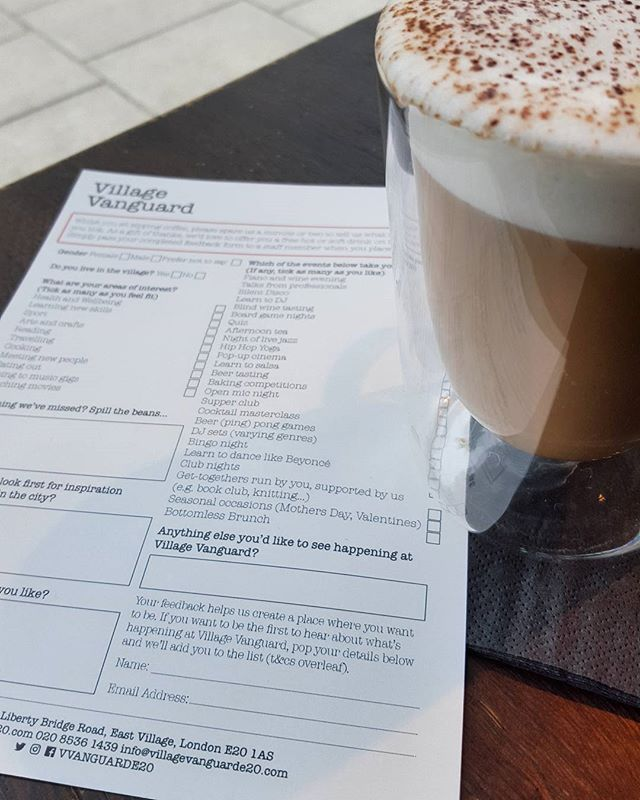 Over the next week at VV we want to hear your thoughts as we look to develop our events programme. Just pop by to complete a quick questionnaire and we may just throw in a free hot/soft drink in return for giving us some food for thought… (pun intended)  #villagevanguard #eastvillage #e20 #stratford #london #coffee #events