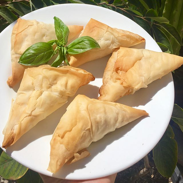 Had so much fun helping celebrity caterers @veganics make spanakopitas this past weekend! Have you made these, or worked with filo dough before? It's a lot of folding, but it's worth it! Now I totally wanna make some at home. Spanakopitas are filled with spinach and cheese folded into a flaky pastry 😋. #butteryflakycrust. . . . #vegan #vegansofig #veganfood #veganfoodporn #environmentalist #activist #fall #foodallergies #foodblogger #healthblogger #lafoodie #lafoodjunky #lafoodjunkie #laeats #losangeleseats #forkyeah #eatfamous #foodgawker #foodiesofinstagram #foodiegram #foodiechats #foodielife #foodiepics  #spanakopitas #veganspanakopitas