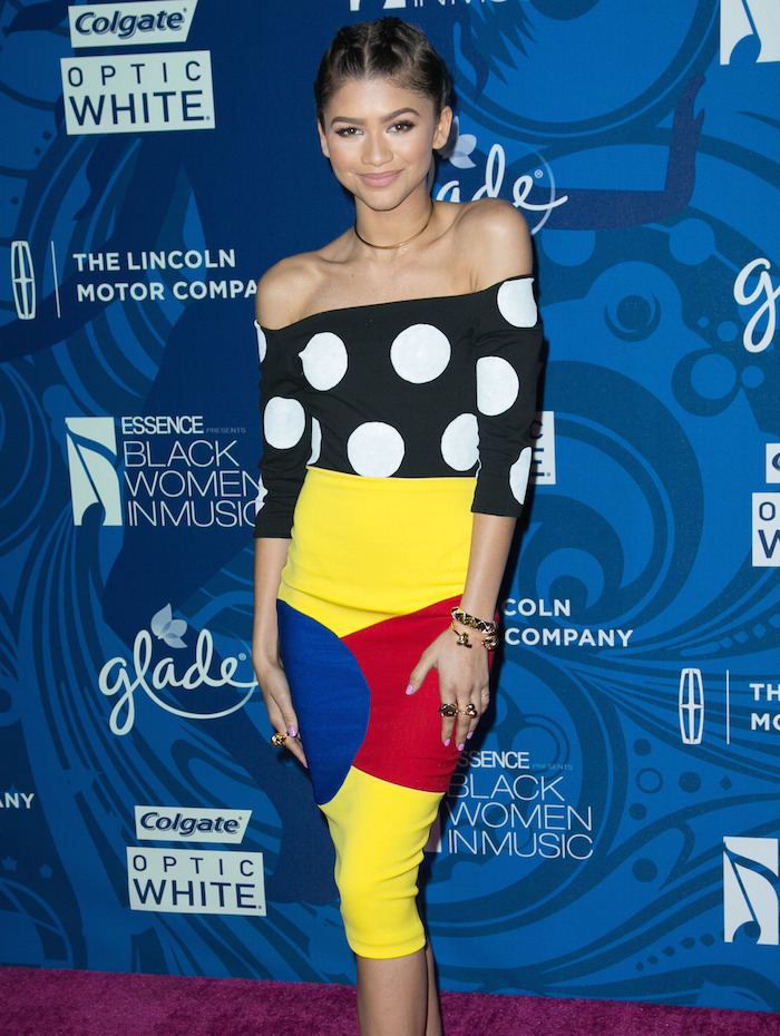 Zendayas-ESSENCE-Black-Women-In-Music-2015-Sergio-Hudson-Spring-2015-Black-And-White-Polka-Dot-Bodysuit-And-Color-Blocked-Pencil-Skirt.jpg