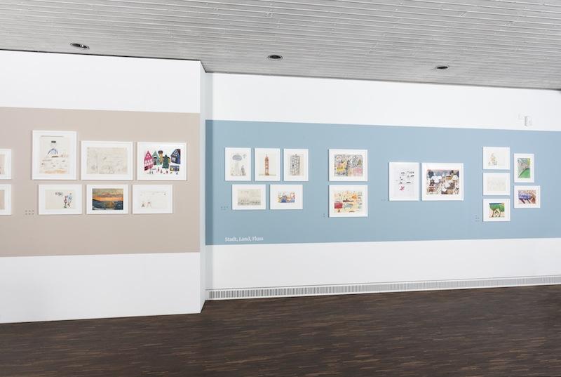 Paperworlds, Kinder- und Jugendzeichnungen zeitgenössischer Künstler, Ausstellungsansicht   me Collectors Room Berlin, 2014. © Valeska Hageney & Sylvia Volz. Foto Jonas Wilisch, www.setform.de