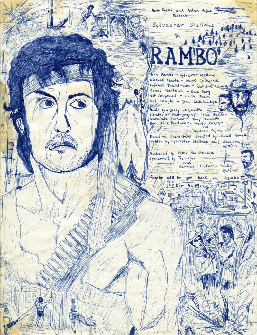"""Ralf Ziervogel, """"Rambo II"""" (Ausschnitt), 1987 (12 Jahre), blaue Füllertinte auf Papier, 27.5 x 21cm. Courtesy Ralf Ziervogel. Copyright VG Bild-Kunst, Bonn."""