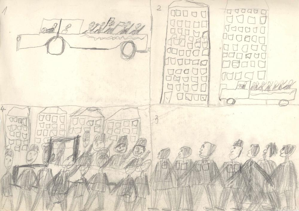 Norbert Bisky, o.T. (Parade), 1978 (8 Jahre), Bleistift auf Papier, 21 x 29.7cm. Courtesy Norbert Bisky. Copyright VG Bild-Kunst, Bonn.