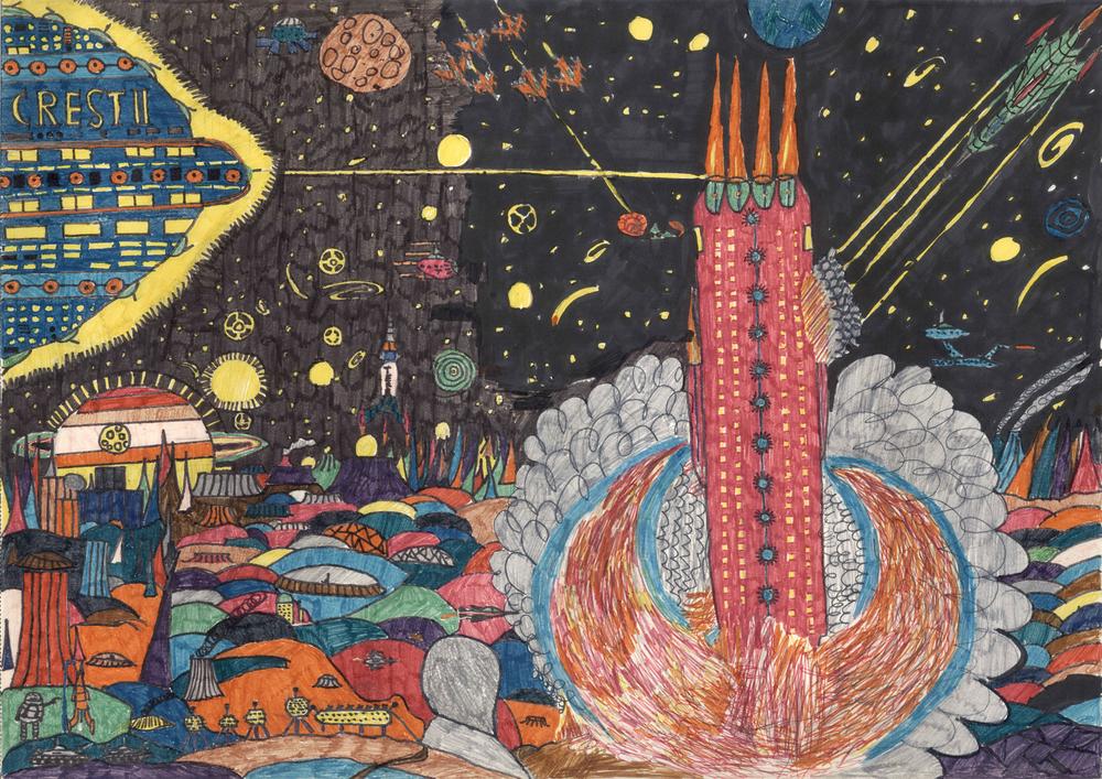 "Michael Kunze, ""Perry Rhodan Weltraumkampf"", 1972 (11 Jahre), Wachsmalkreide auf Papier, 29.5 x 39.5cm. Courtesy Michael Kunze."