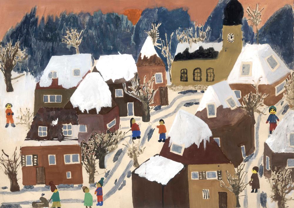Katja Strunz, o.T. (Stadtszene im Winter), 1980/81 (10-11 Jahre), Bleistift, Wasserfarbe und Deckweiß auf Papier, 35.1 x 49.8cm. Courtesy Katja Strunz