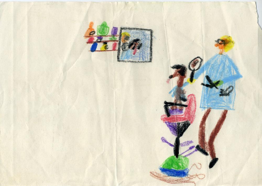 Axel Geis, o.T., 1976 (5-6 Jahre), Wachs- und Buntstifte auf Papier, 29.7 x 21cm. Courtesy Axel Geis.