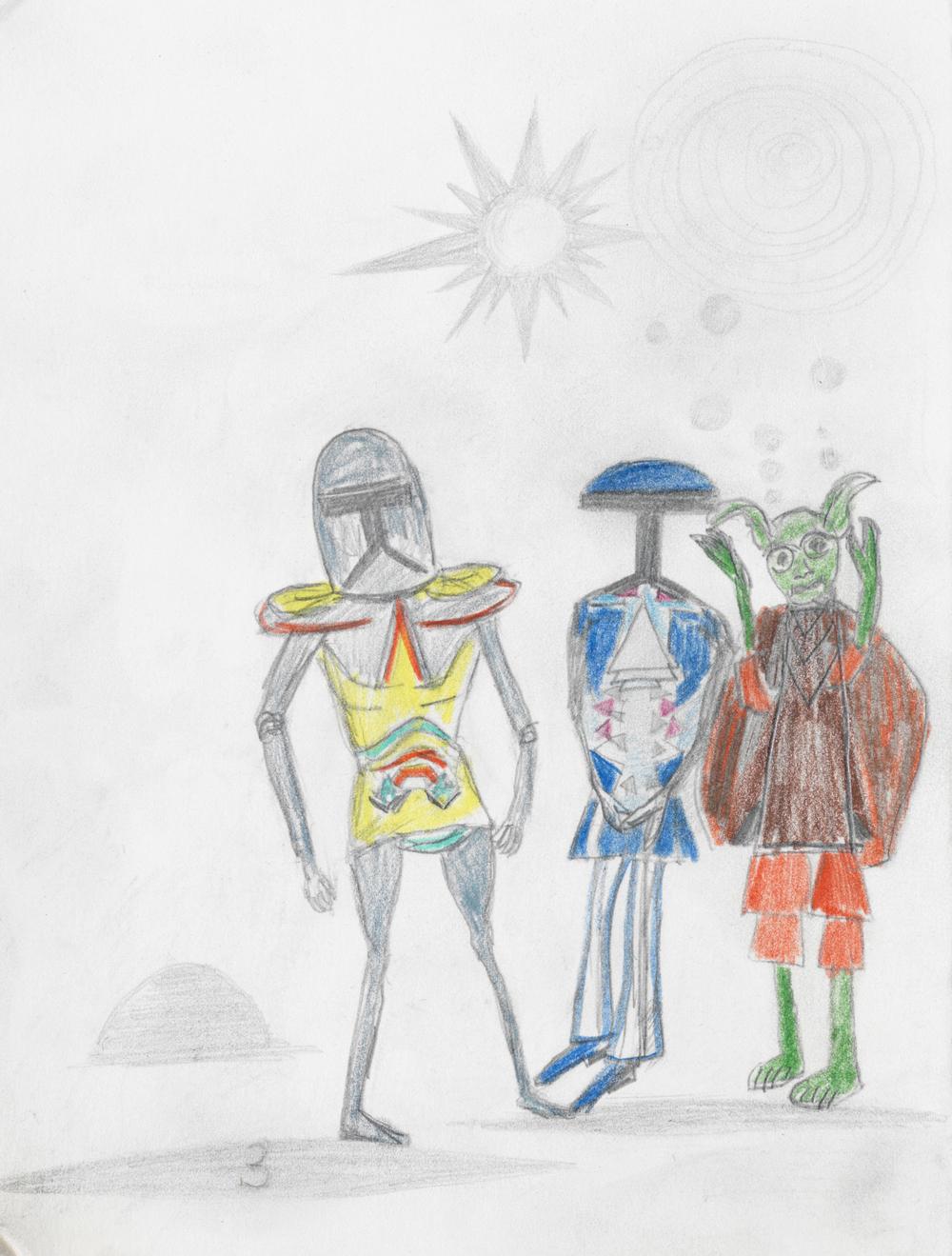 """Andy Hope 1930, """"3"""" (Ausschnitt), 1978 (15 Jahre), Bleistift und Buntstift auf Karton, 26.4 x 18.9cm. Courtesy Andy Hope 1930 und Galerie Guido W. Baudach, Berlin. Foto: Roman März."""