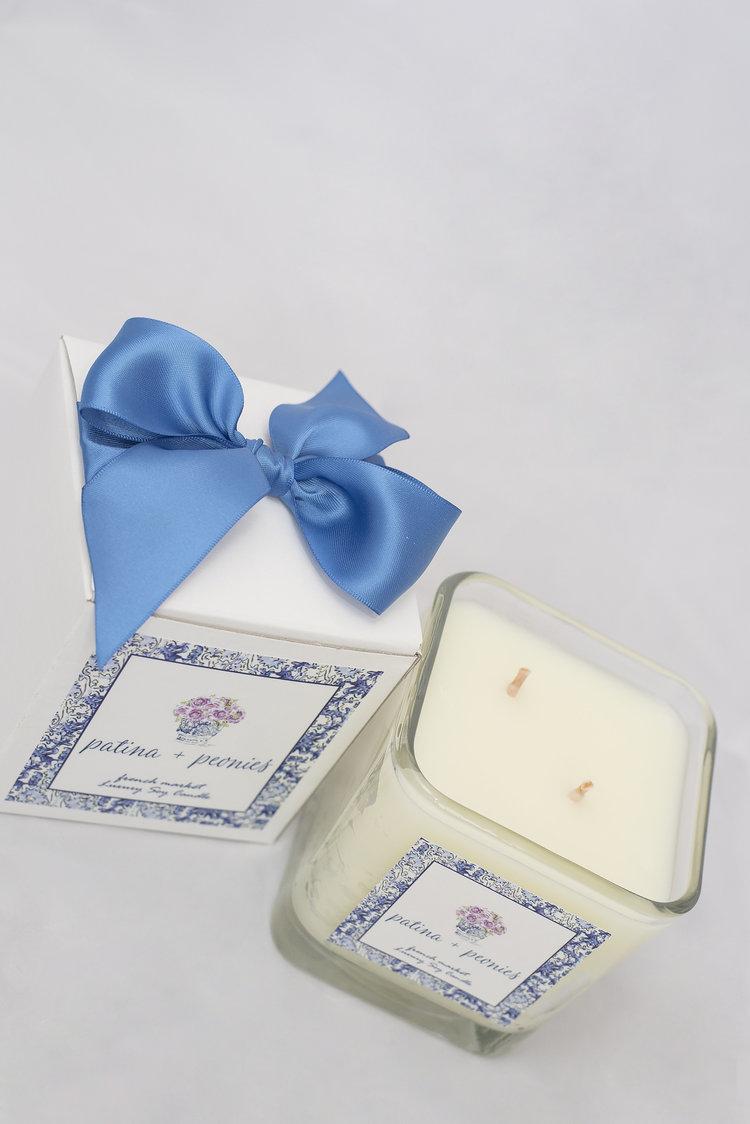 Patina + Peonies French Market Cube Candle — Patina + Peonies