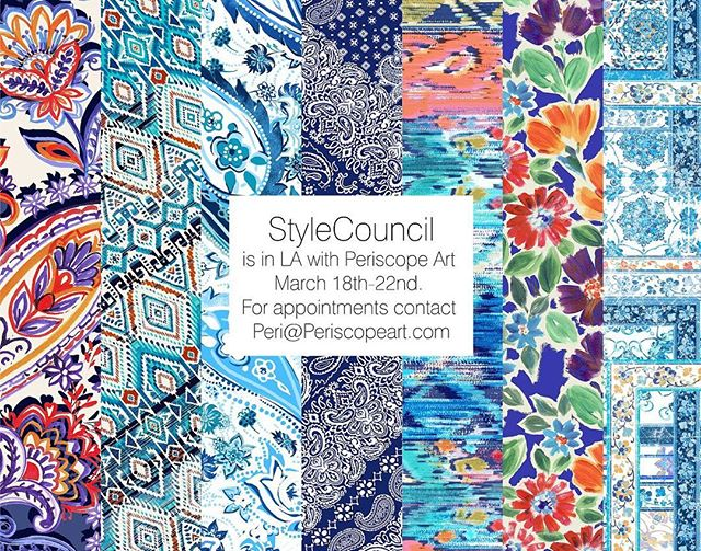 We will be in LA with Periscope Art! If you are interested please make an appointment with peri@periscopeart.com 🎨 . . . #periscopeart #textiles #textilestudio #printdesign #textiledesign