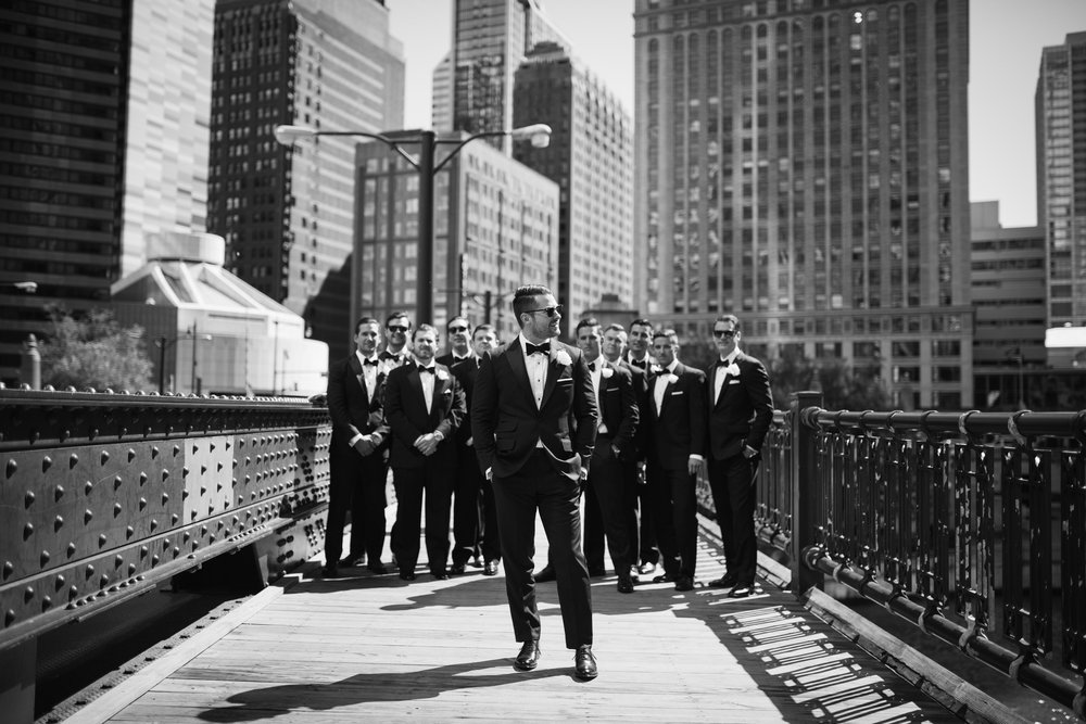 Bridal Party photos on Chicago River