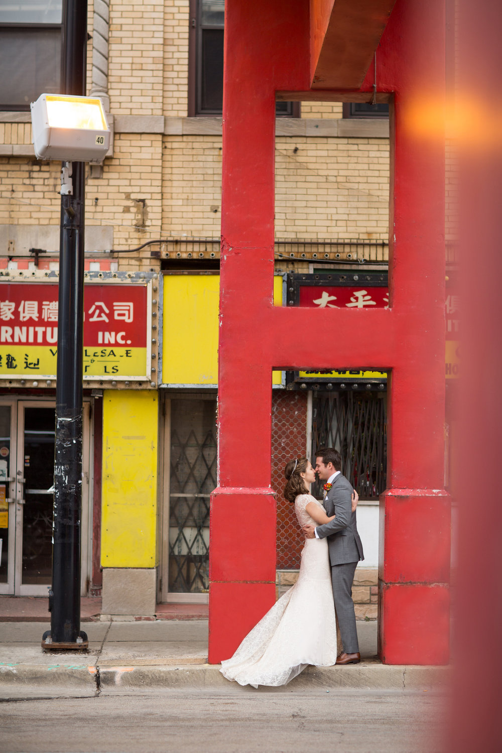 Wedding photos in Chicago China Town