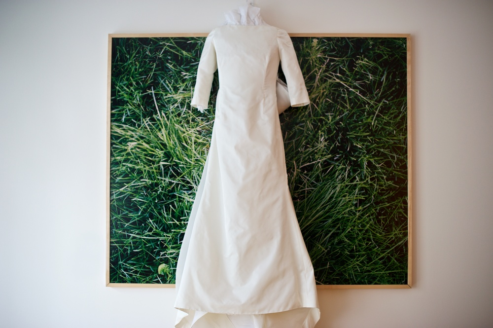 I shot Kelly's dress against one of her MFA show pieces. I love this piece, and loved incorporating it into her wedding photos.